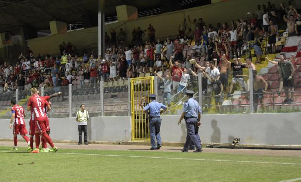 Red Star Belgrade football Players celebrate their goal near supporters during a Europa League qualifying game against Floriana FC at Hibernians Stadium on July 6. Photo: Mark Zammit Cordina