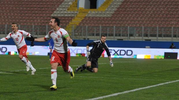 Michael Mifsud celebrates after his second goal at Ta' Qali - Picture: Jason Borg.