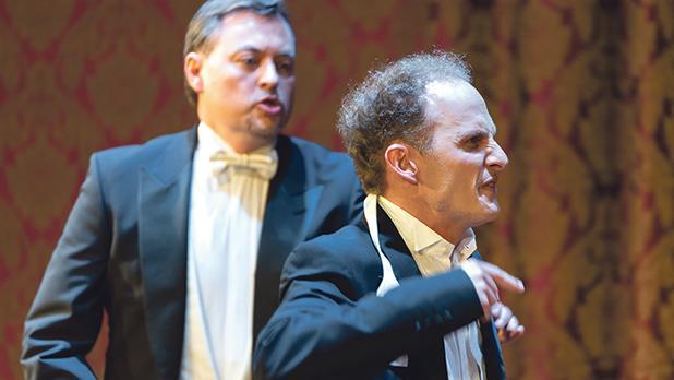 Arthur (EdwardThorpe) in a heated argument with Eric (Edward Caruana Galizia).