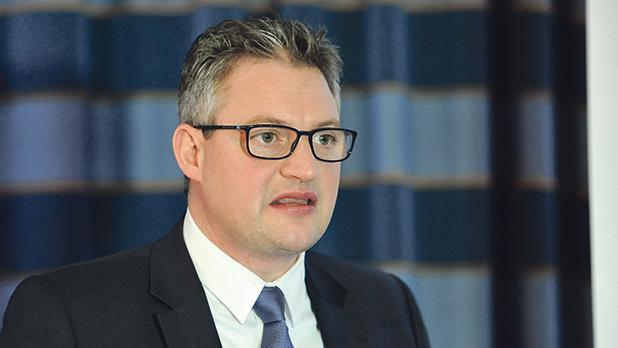 Konrad Mizzi addressing stakeholders during the presentation of a Malta Hotel and Restaurants Association survey. Photo: Chris Sant Fournier