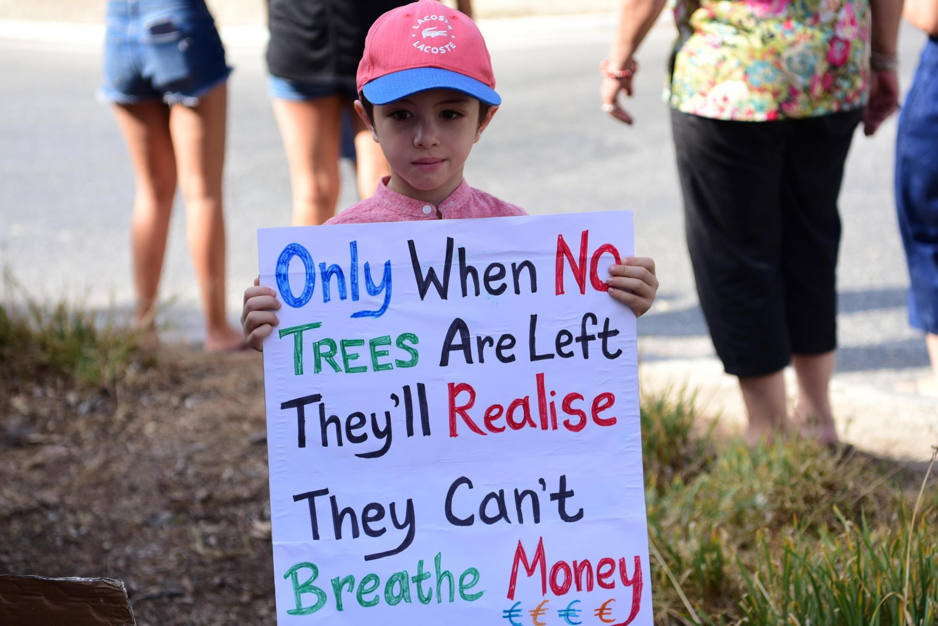 A young protestor during a manifestation against the project last July.