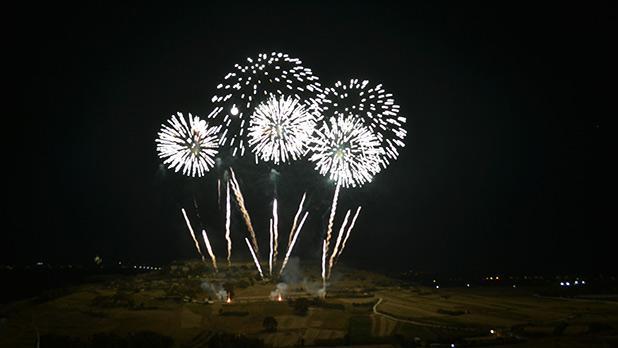 Fireworks over Nuffara Hill, Xaghra, Gozo. Photo: Noel Camilleri
