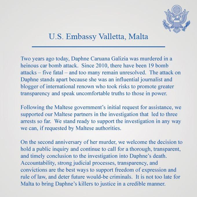 The US embassy's public letter offering help to crack the Caruana Galizia case.
