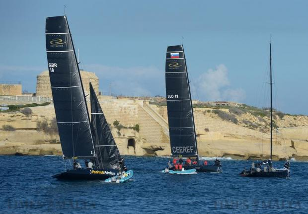 Racing yachts at this year's RC44 Championship Tour leg in Malta head out to sea to practice on November 22. Photo: Matthew Mirabelli