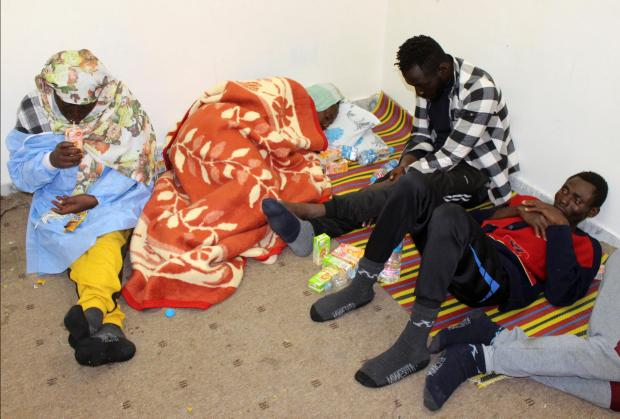 Survivor migrants who spent 12 days at sea without food or water are seen in Misurata.