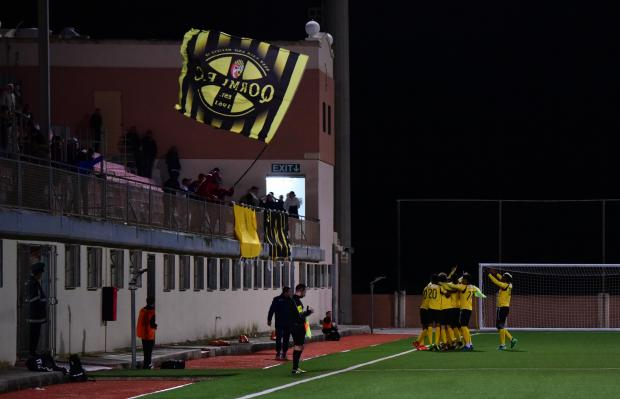 Qormi players react after scoring one of their goals against Hibernians. Photo: Mark Zammit Cordina