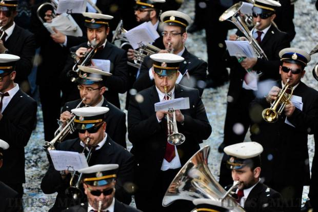Musicians play during the afternoon march of St Paul in Valletta on February 10 Photo: Steve Zammit Lupi