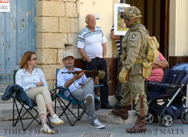 Re-enactors participate in an event organized by the Zejtun Local council on May 13, to mark the tragedy that happened in Żejtun Square in 1942 during World War II in which several residents were killed. Photo: Matthew Mirabelli
