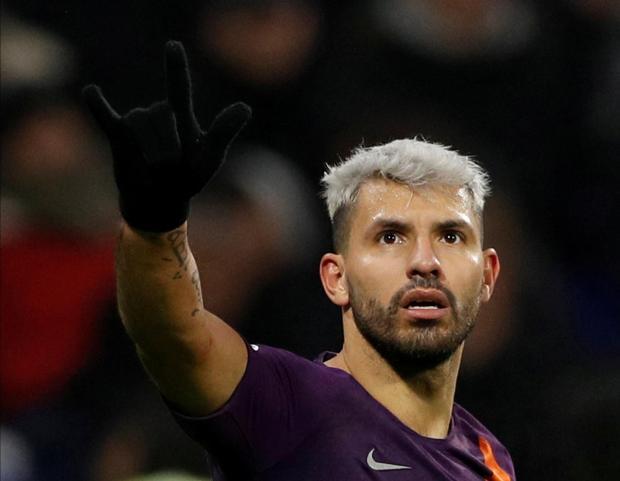 Manchester City's Sergio Aguero celebrates scoring their second goal.