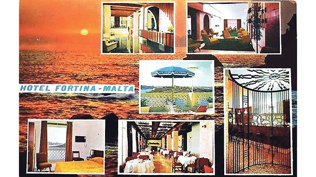 Promotion postcard for a hotel in Malta in the 1950s.