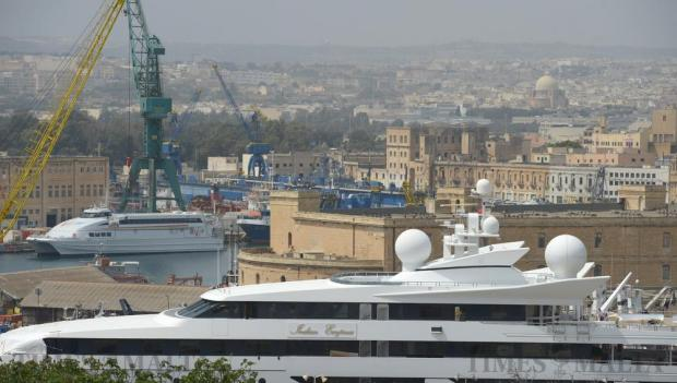 The luxury super yacht Indian Empress lies in the dock in Marsa on April 22. Photo: Matthew Mirabelli