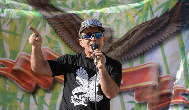 Żaren Bonnici, better known as Tal-Ajkla, speaking in Marsaxlokk on March 12. Photo: Matthew Mirabelli