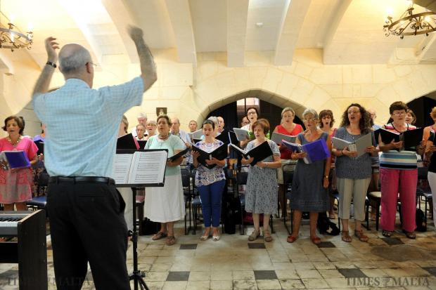 The St Paul's Choral Society work their vocal chords at the undercroft of the St Paul's Anglican Cathedral in Valletta on August 5. Photo: Chris Sant Fournier