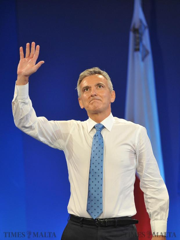 An emotional Simon Busuttil waves to his supporters at the PN headquarters on his last day as PN leader on September 15. Photo: Chris Sant Fournier