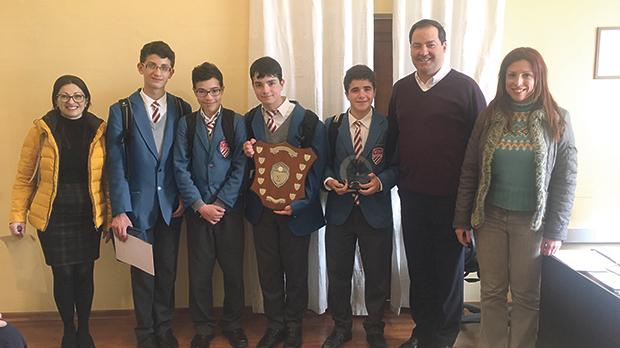 The winning team (from second left) Haydn Cassar, Alan Brincat, Jason Spiteri and Robert Sciberras Herrera, together with (from left) their coach, Jeanette Aquilina, college rector Fr Jimmy Bartolo SJ and Vanessa Portanier, assistant head, co-curricular activities.