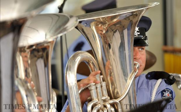 A member of the Police band plays his tuba at the Police parade in Valletta on June 5. Photo: Chris Sant Fournier