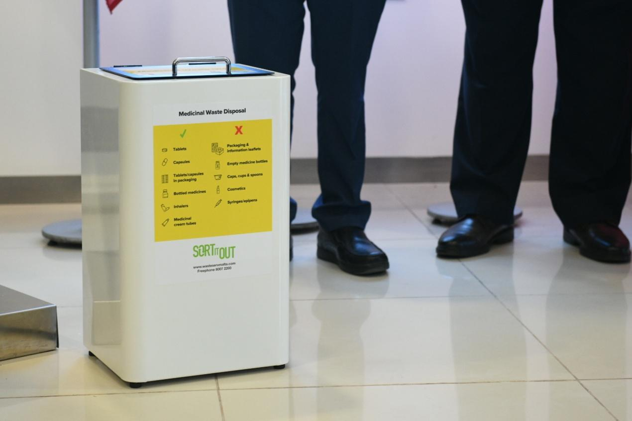 The bin will help separate medical waste from other items disposed. Photo: Matthew Mirabelli