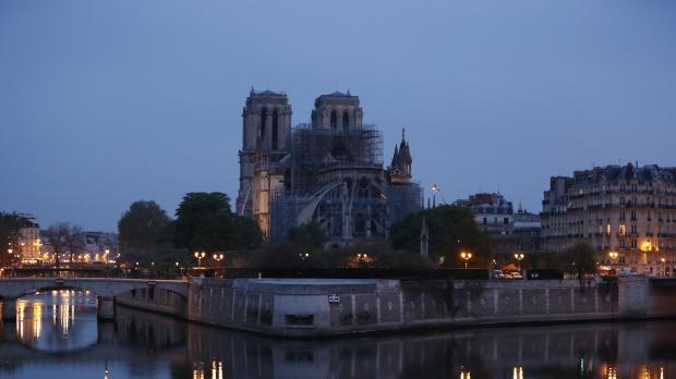 The structure of Notre Dame, without the spire, early on Tuesday.