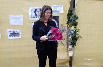 Naomi Klein at the memorial on Saturday.