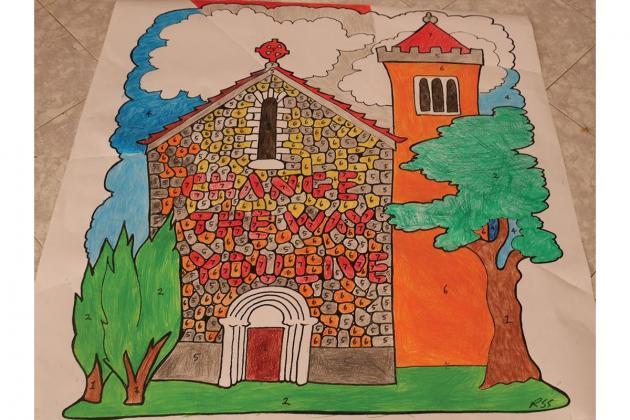 Children create basilica collage