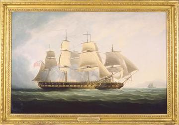 HMS Seahorse capturing La Sensible, by Thomas Buttersworth Sr. Photo:Courtesy of Penobscot Marine Museum, Searsport, Maine, US