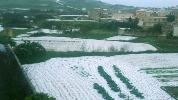 Hail in Victoria, Gozo. Photo: Anabel Vella