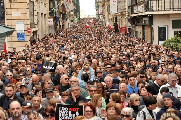 Thousands flooded the Valletta streets to show their discontent with the alleged government corruption on February 19. Photo: Chris Sant Fournier