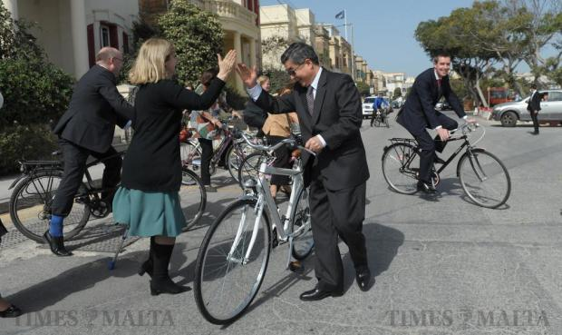 Several ambassadors to Malta, including China's Cai Jinbiao (centre) and the UK's Rob Luke (right) cycle along the Ta' Xbiex front on April 14 to raise awareness about the healthier and cleaner mode of transport. Photo: Matthew Mirabelli