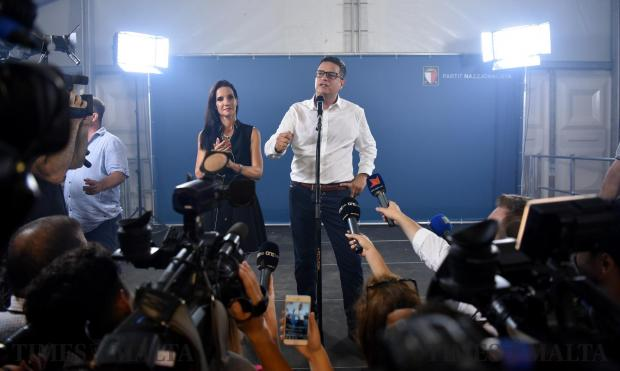 Adrian Delia addresses the media moments after he was elected as Nationalist party leader at Floriana on September 18. Photo: Mark Zammit Cordina