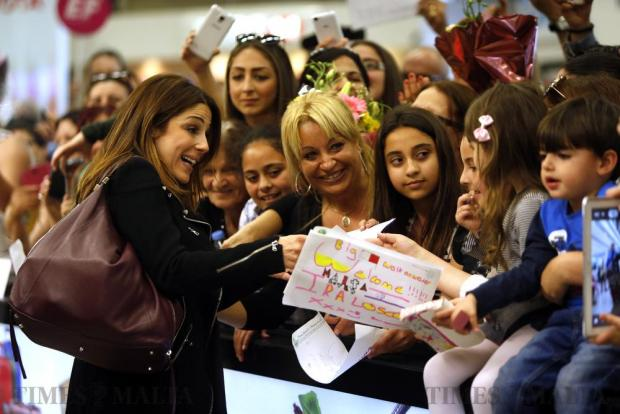 Ira Losco is greeted by a crowd of waiting fans as she arrives at Malta International Airport on May 15, after participating in the Eurovision Song Contest in Sweden. Photo: Darrin Zammit Lupi