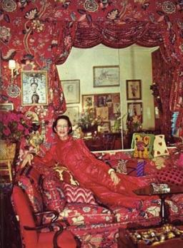 Diana Vreeland in her red sitting room.