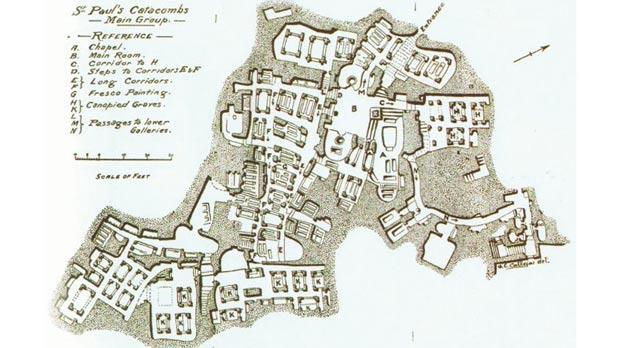 Plan of St Paul's Catacombs in Rabat.