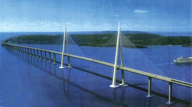 Artist's impression of how the €1bn Gozo bridge link would look.