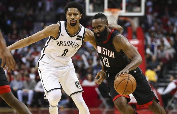 fe43ed79fb5 Houston Rockets guard James Harden (13) dribbles the ball as Brooklyn Nets  guard Spencer