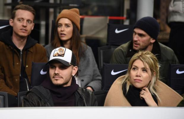Inter' Mauro Icardi with his wife Wanda Nara in the stands.
