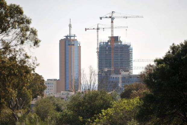 The new tower at Pender Gardens challenges the Portomaso Tower for tallest building in Malta on February 23. Photo: Chris Sant Fournier