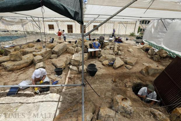 Archaeologists and students work on the excavation site of the Roman Villa in Zejtun on July 5. Photo: Darrin Zammit Lupi