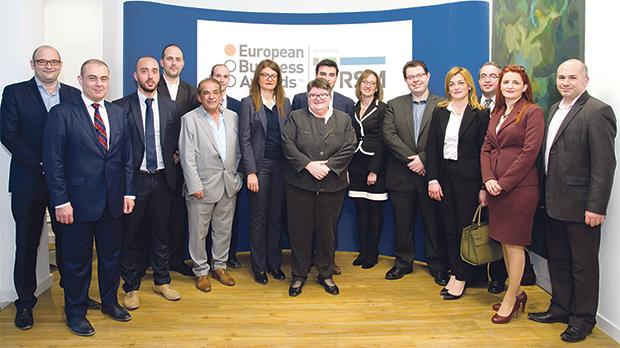 European Business Award finalists attending the networking event organised by RSM in the new Malta offices. Also in the picture is RSM managing partner Maria Micallef, centre.