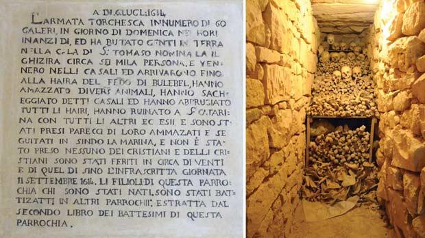 An old inscription in St Gregory's church relates the attack of 1614. Right: Human bones discovered in the secret passages of St Gregory's church.