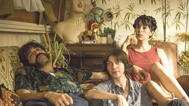 Roger (David Verdaguer), Kat (Natalia Tena) and Eva (Oona Chaplin) in Anchor and Hope.