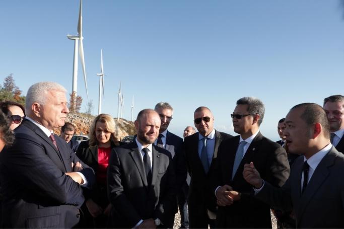 Joseph Muscat (centre) and Konrad Mizzi (far right) inaugurating the project in November 2019.