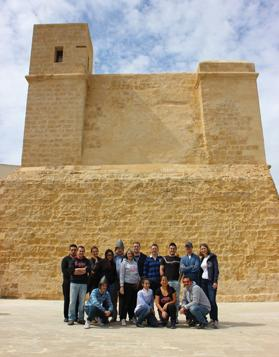 The group outside Wignacourt Tower.
