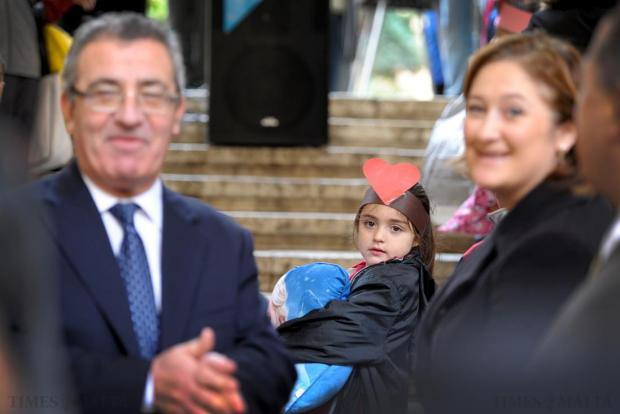 A student glances backwards during the launch of this year's Bicycle Marathon at St George's Square in Valletta on January 22. Photo: Matthew Mirabelli