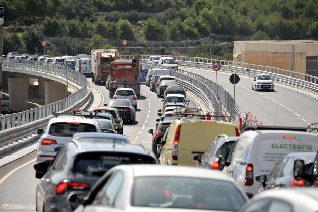 Traffic jams the new Kappara flyover on October 9. Chris Sant Fournier