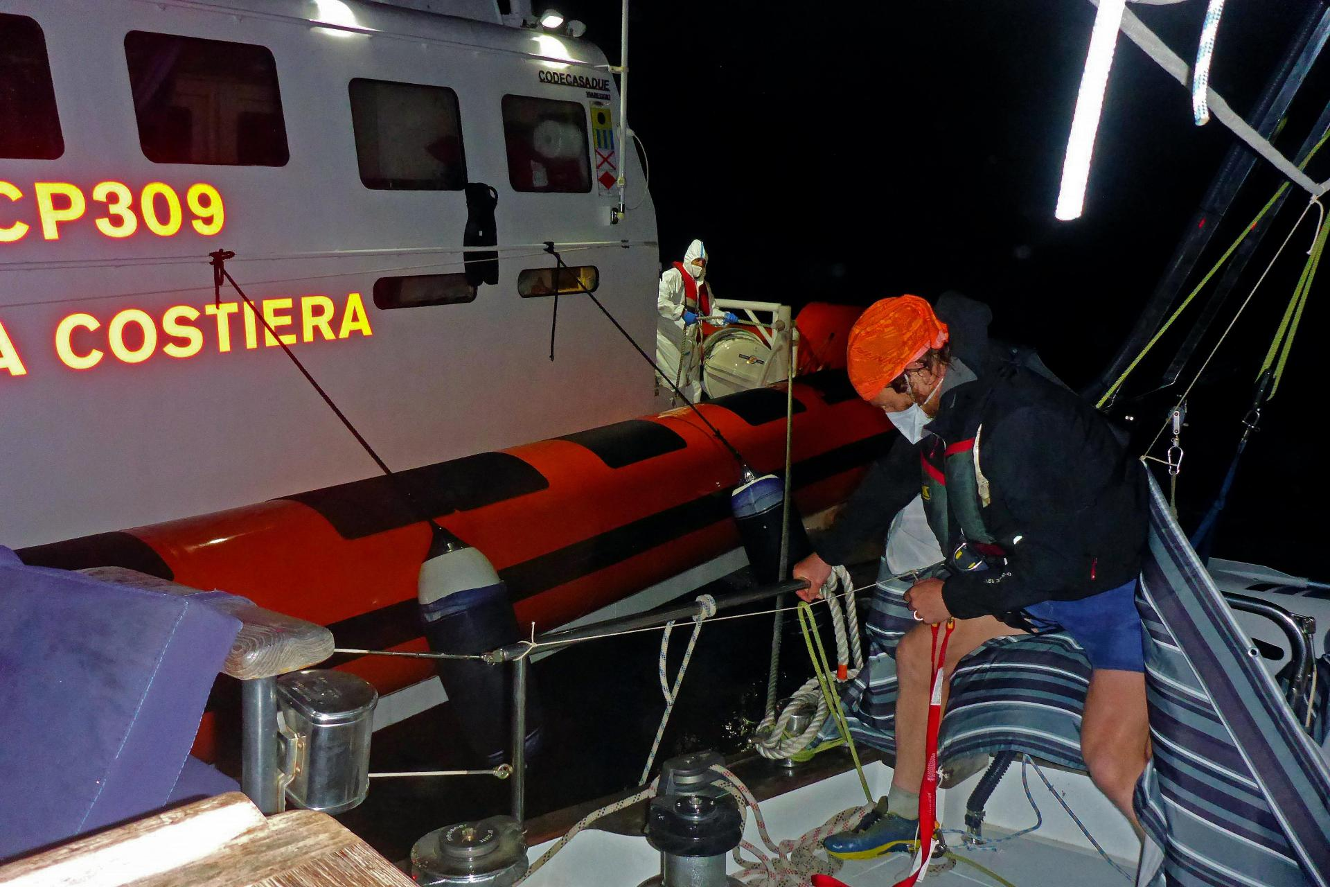 The Italian Coastguard arrived in the early hours of Thursday morning to conduct the rescue. Credit: Resquship