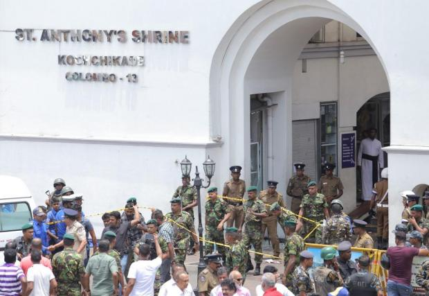 Military close off access to St Anthony's Shrine, one of the places hit by explosions. Photo: AFP