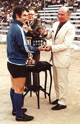 Edward Darmanin receiving the Footballer of the Year Trophy in 1972 from Lawrence Xuereb, the Malta FApresident at the time.