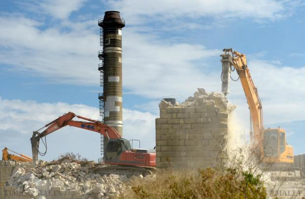 Demolition works begin at the Marsa power station on October 28 as parts of the 1953 station are leveled and will be replaced by a new substation to divert energy to the Marsa-North area. Photo: Matthew Mirabelli