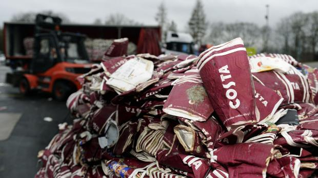 Costa Coffee undated handout photo of their cups ready to be recycled. The UK's largest coffee shop chain has pledged to recycle as many disposable cups as it sells by 2020 in an effort to cut the number sent to landfill