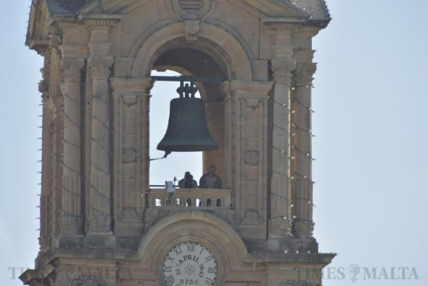 Armed Forces personnel keep an eye out from the St Publius Church bell tower at the Isle of MTV on the Granaries in Floriana on June 28. Photo: Mark Zammit Cordina